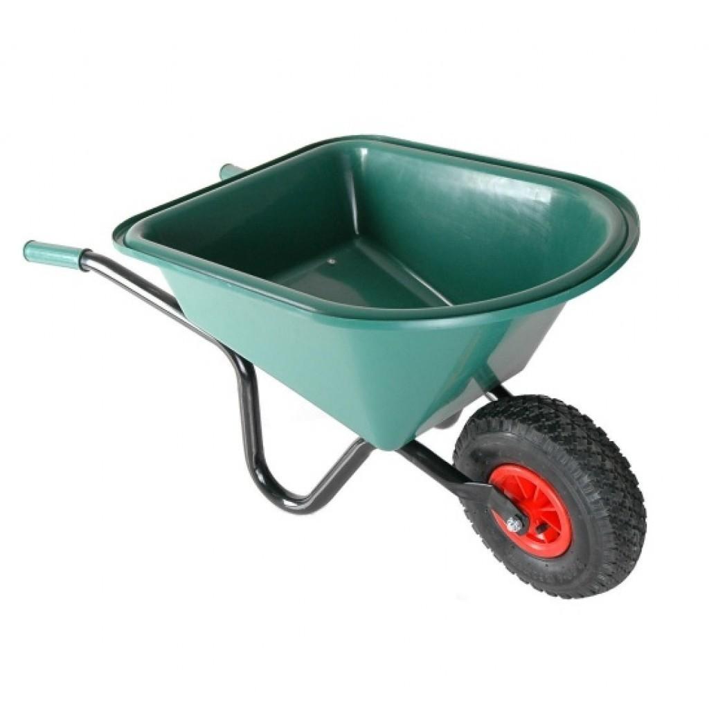 Kinderkruiwagen met groene kunststof bak