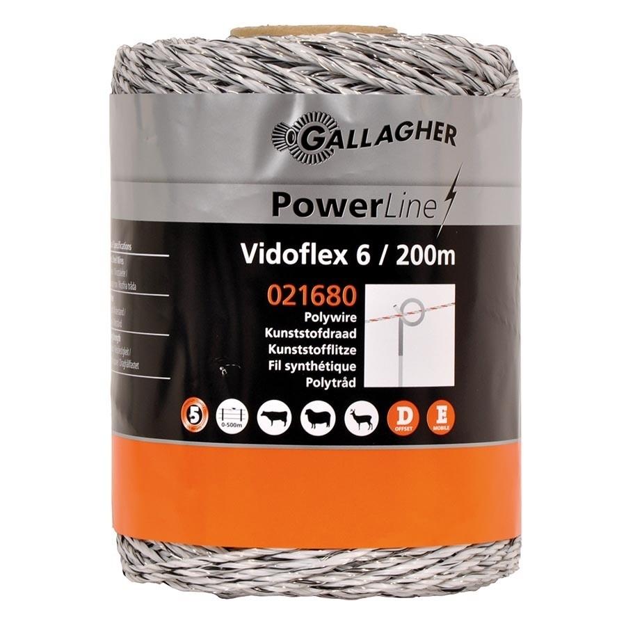 Schrikdraad Gallagher Vidoflex 6 Powerline wit 200mtr