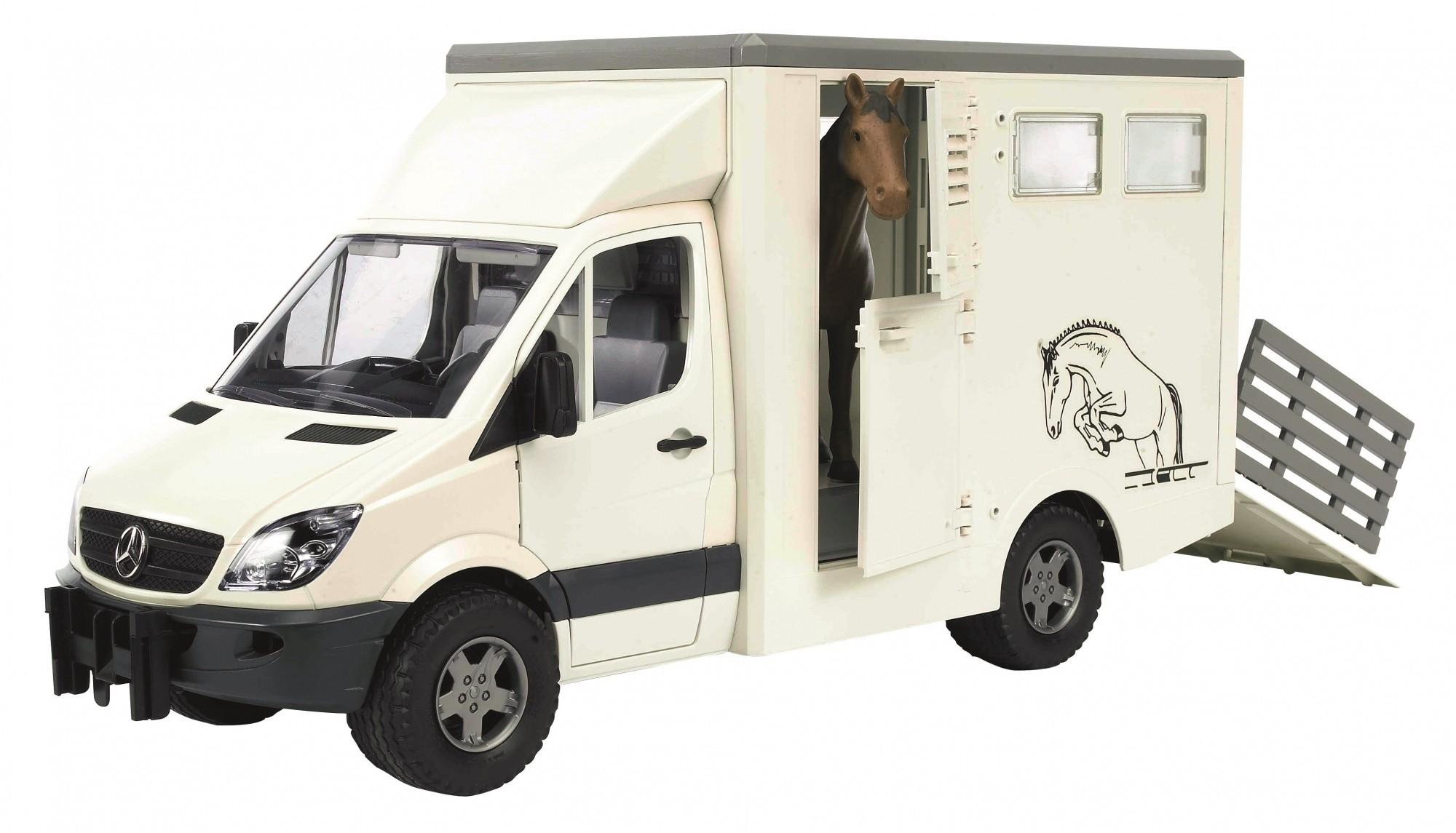 Bruder MB sprinter paardentransporter en paard 1:16