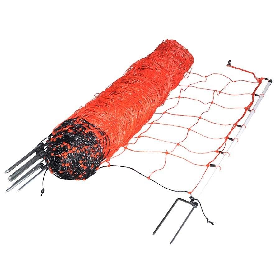 Schapennet / afrasteringsnet oranje 90cm X 50mtr dubbele grondpen