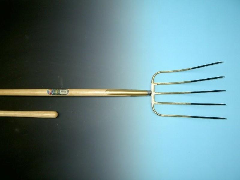 Mestvork Offner brons 5 tands met essen steel 135cm