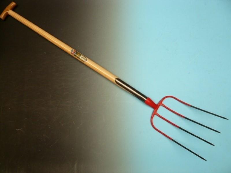 Mestvork Offner rood 4 tands met dubbele veren en 90cm essen T-steel