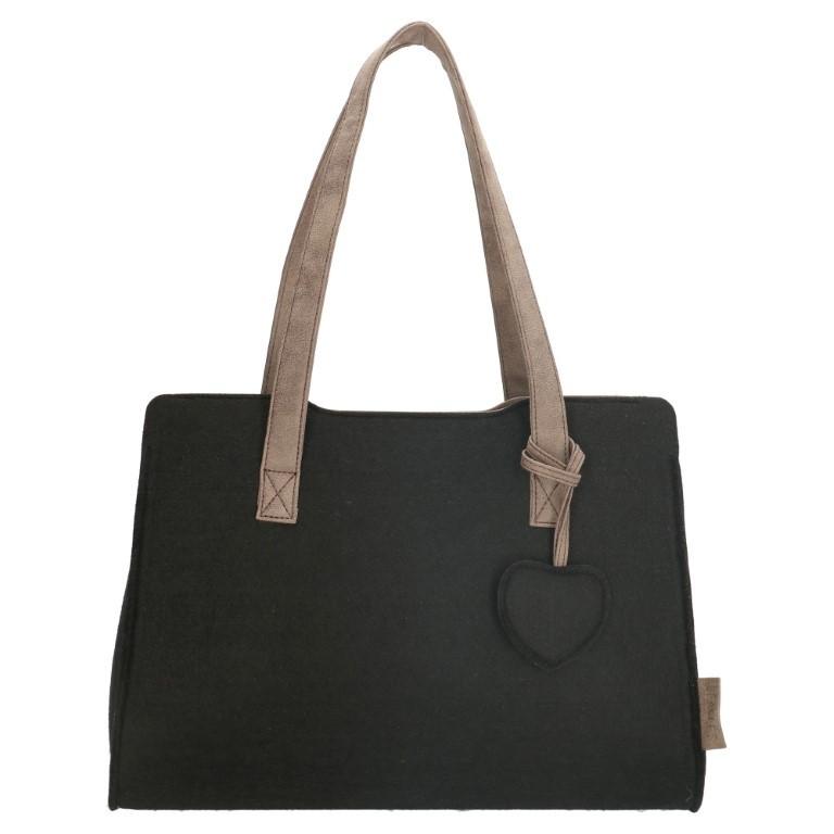 Beagles Vilten Dames Shopper 17537E Zwart