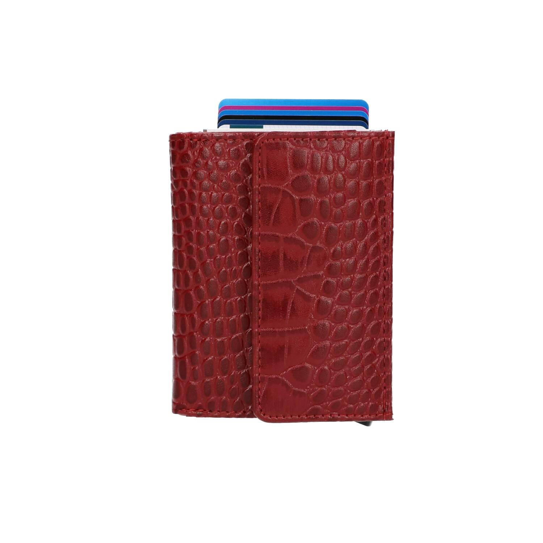 Leather Design Mini Portemonnee Cardprotector KA 4252 Croco Rood