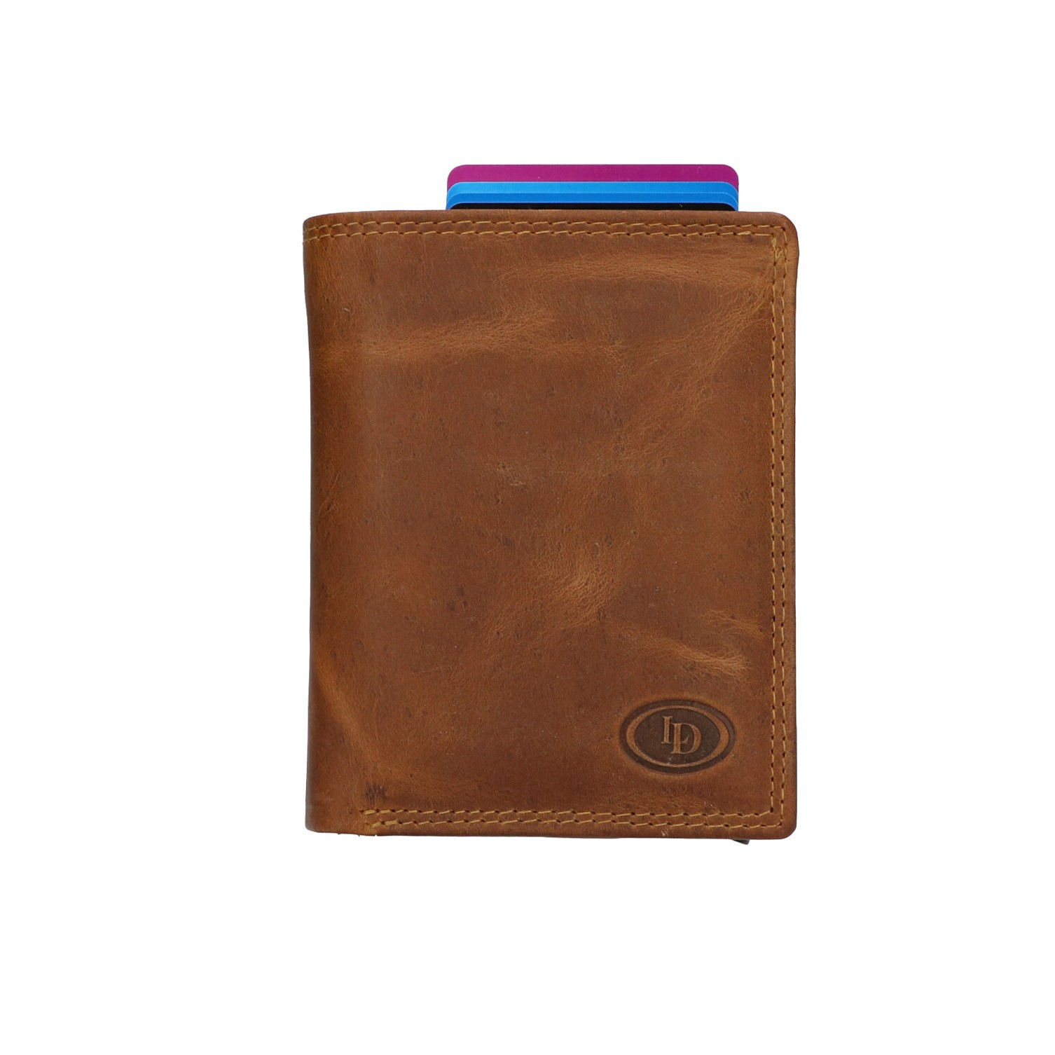 Leather Design Billfold voor Cardprotector HU 2723 Bruin
