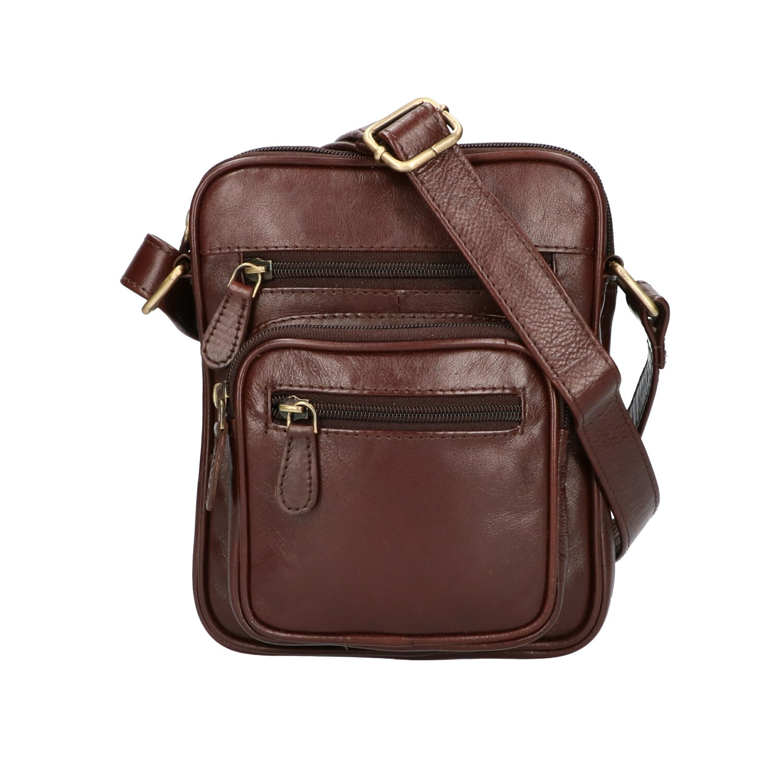 Leather Design Heren Schoudertas Klein CC 1222 Bruin
