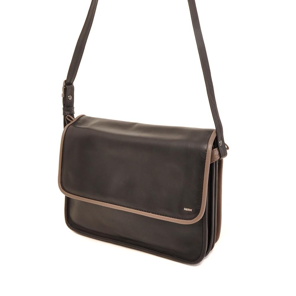 Berba Soft 005-576 Flap Bag Large Black-Taupe