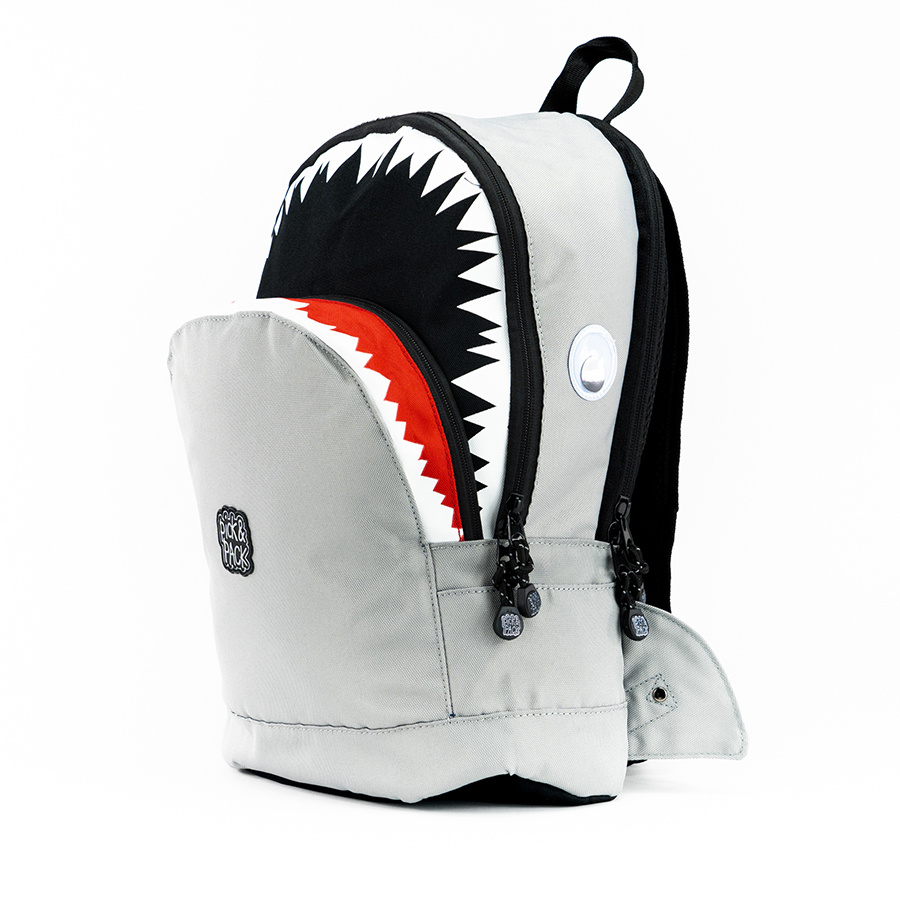 Pick & Pack Shark Shape Backpack M Grey
