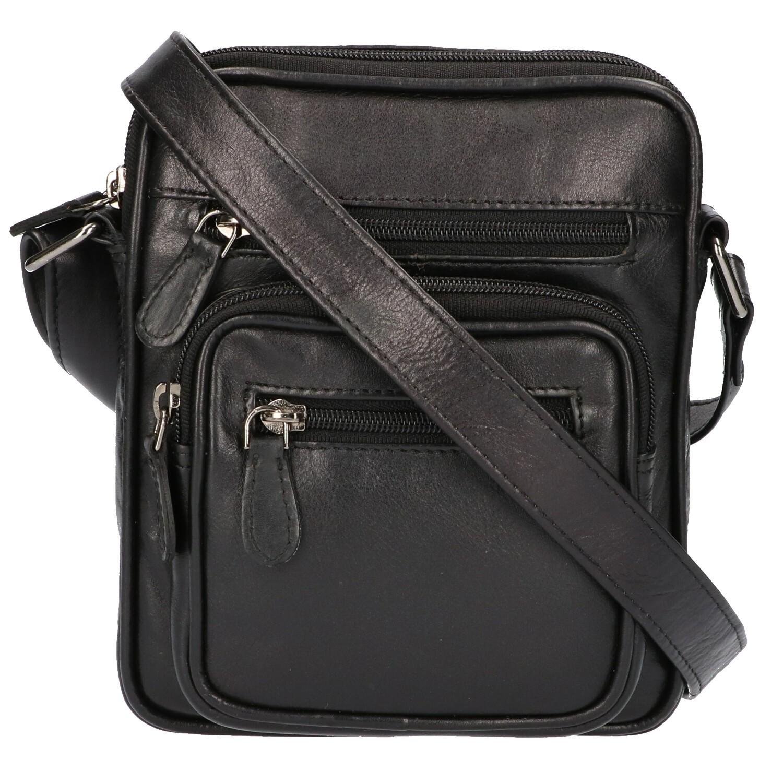 Leather Design Heren Schoudertas Klein CC 1222 Zwart