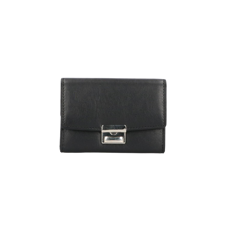 Leather Design Bak Portemonnee Slotje AK 2544 Zwart