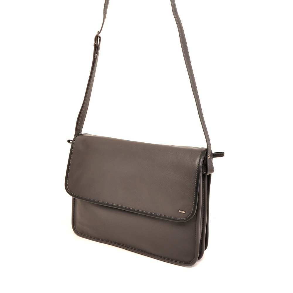 Berba Soft 005-575 Flap Bag Large Grey-Black