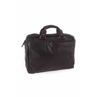 Foto van Spikes & Sparrow 3 zipper business bag 23824N Dark Brown