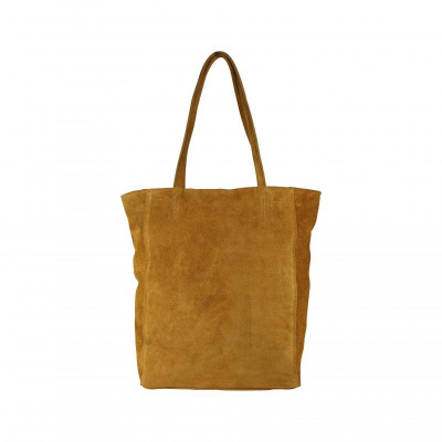 Foto van Baggyshop 'Shop till you drop suede' Schoudertas - Cognac