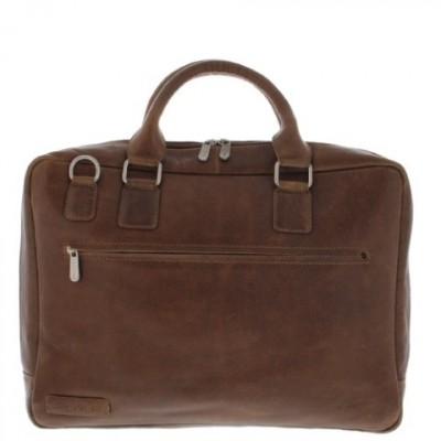 Foto van Plevier Business laptoptas 2 vaks 17,3 inch 485 Cognac