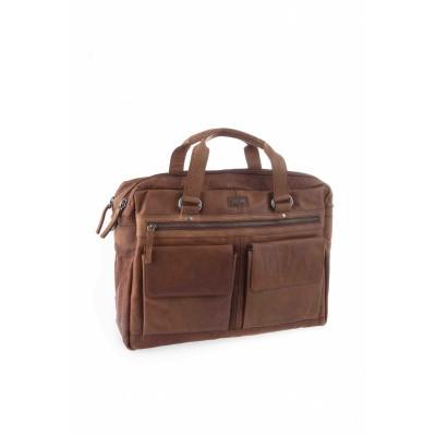 Foto van Spikes & Sparrow 2 zipper Business bag 294S151 Brandy