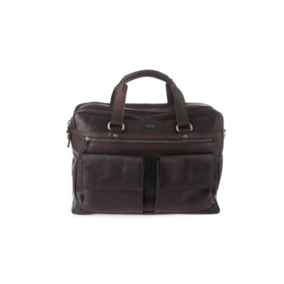 Foto van Spikes & Sparrow 2 zipper Business bag 294S151 Dark Brown