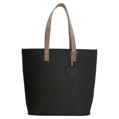 Beagles Dames Vilten Shopper 17536C-Zwart