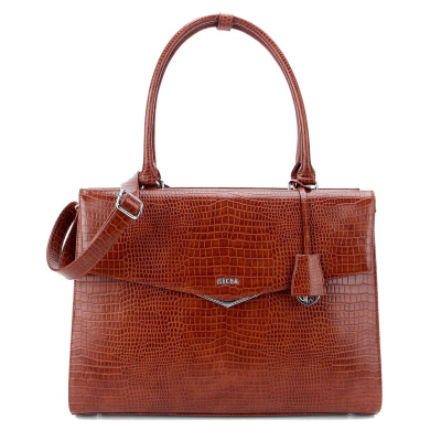 Foto van Socha Business Bag Silvertip Croco Brown 15.6