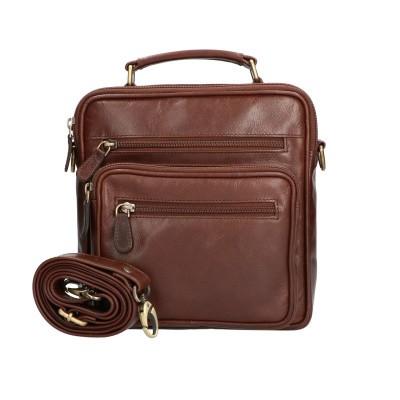 Foto van Leather Design Heren Schoudertas Groot CC 1222 A Bruin