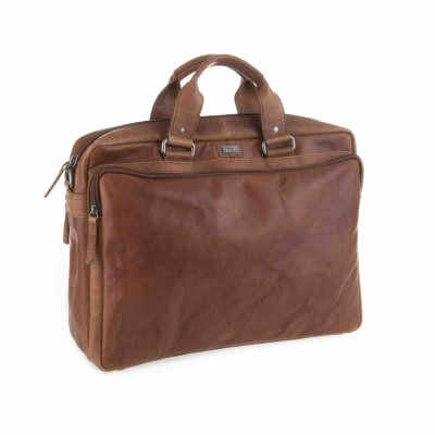 Foto van Spikes & Sparrow 3 zipper business bag 23824N Brandy