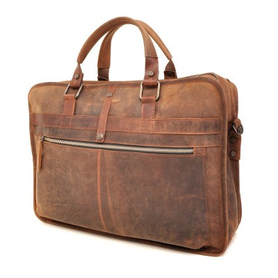 Foto van Barbarossa Ruvido 826-132 Double Section Businessbag Coffee