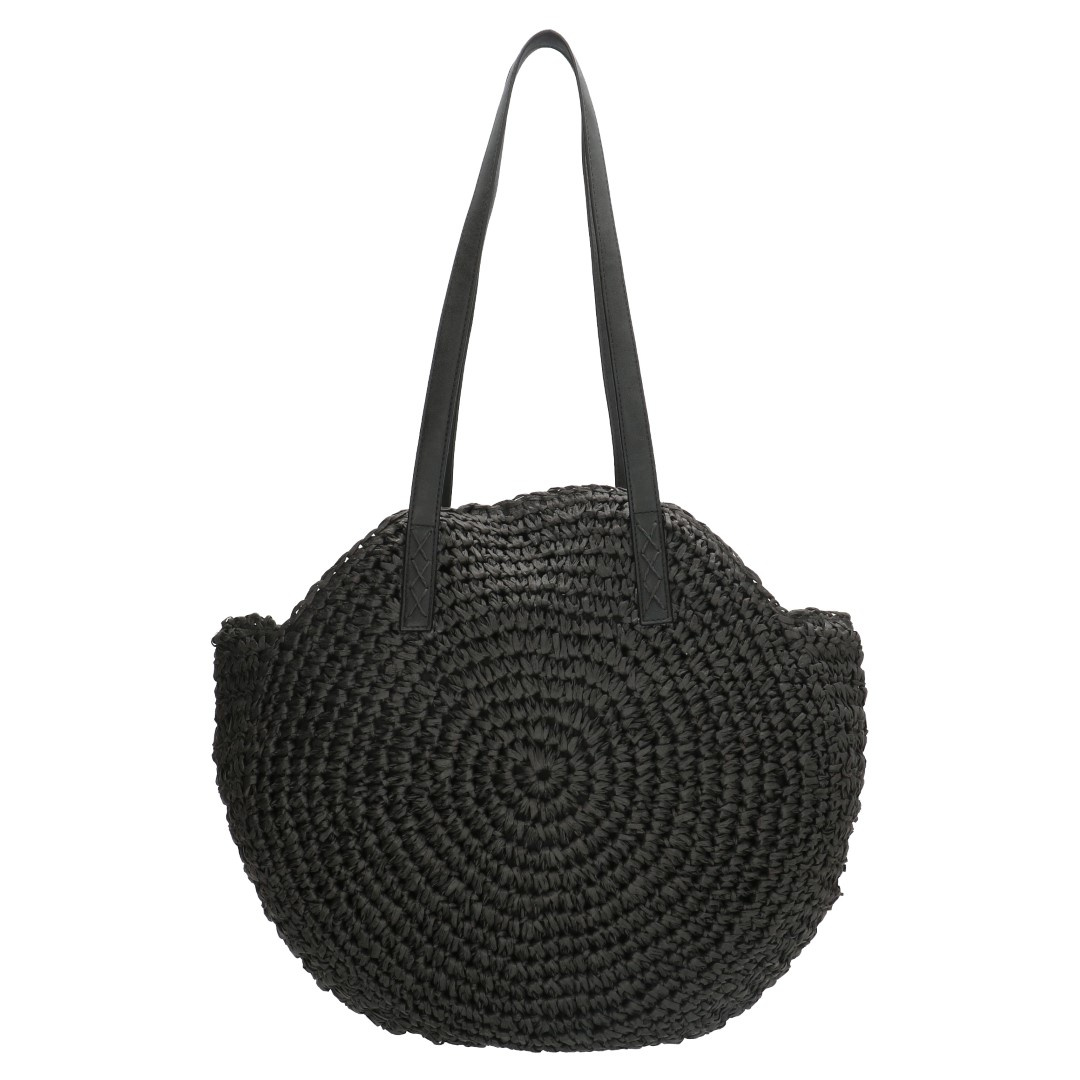 Pe-Florence Straw Shopper 18141 Zwart