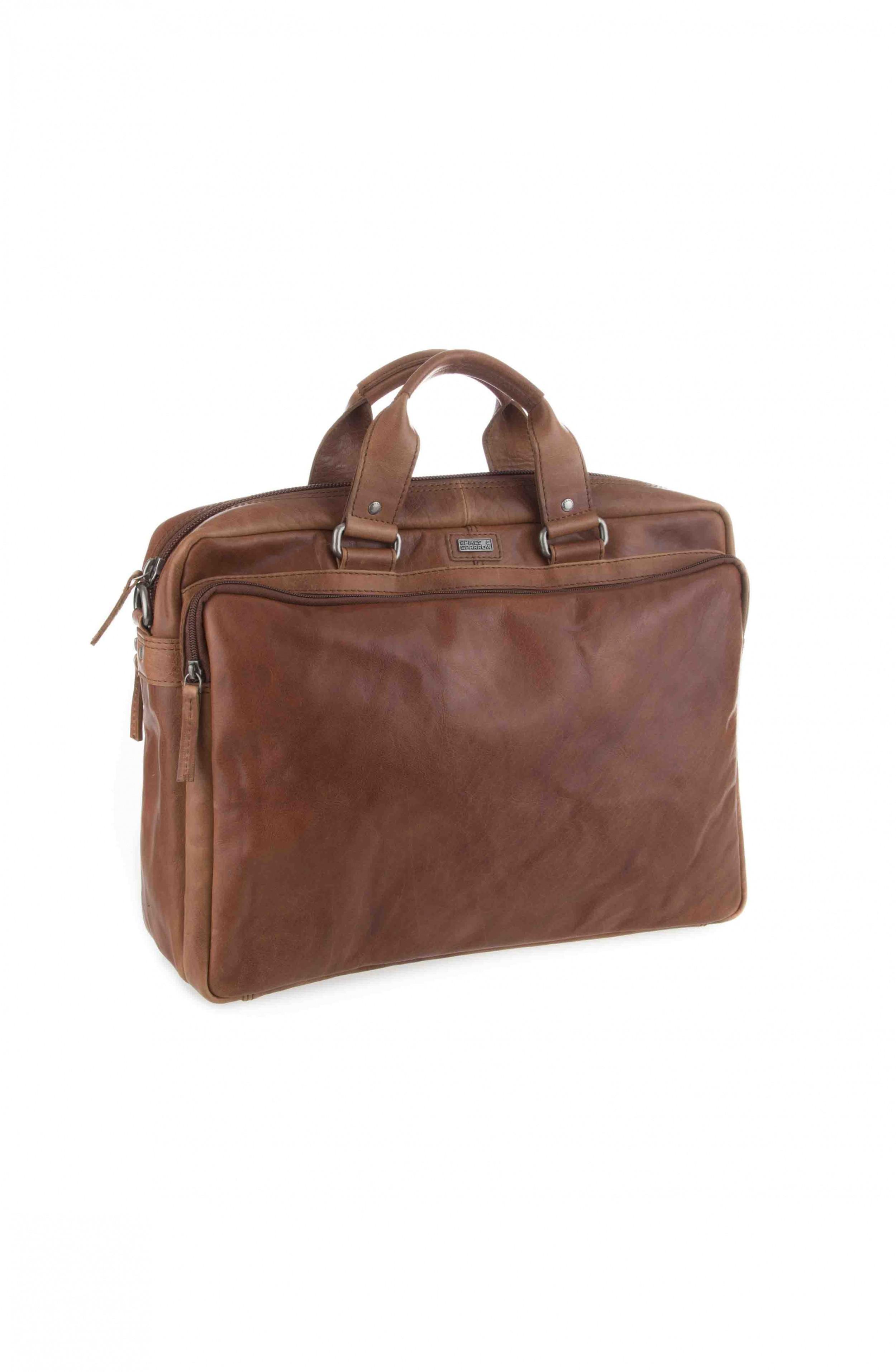 Spikes & Sparrow 3 zipper business bag 23824N Brandy
