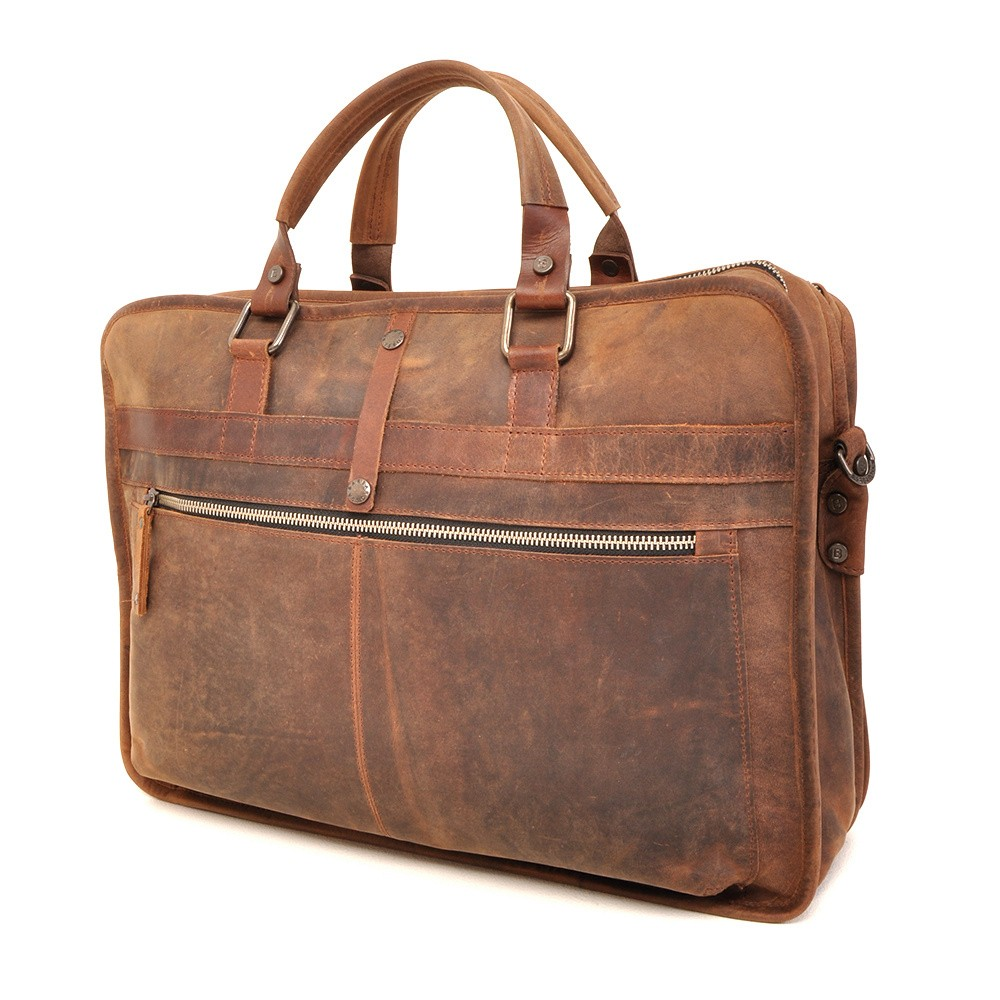 Barbarossa Ruvido 826-132 Double Section Businessbag Coffee