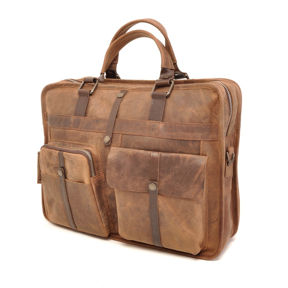 Barbarossa Ruvido 826-131 Double Section Businessbag Coffee