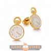 Afbeelding van Disney Alice in Wonderland Clock Stud Earrings (Yellow Gold)