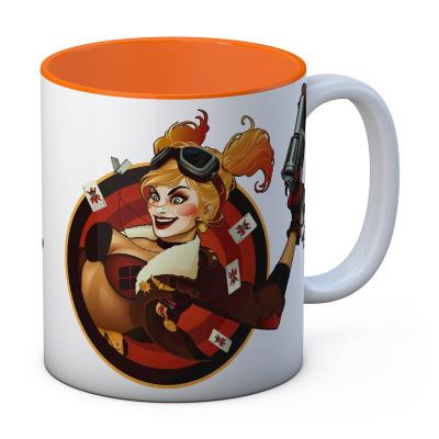 DC Comics: Harley Quinn Gun White-Orange Ceramic Mug