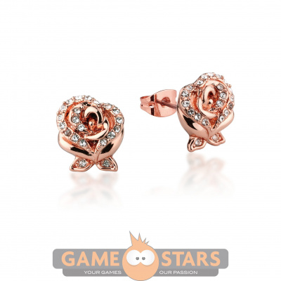 Disney Beauty and the Beast Enchanted Rose Crystal Stud Earrings (Rose Gold)