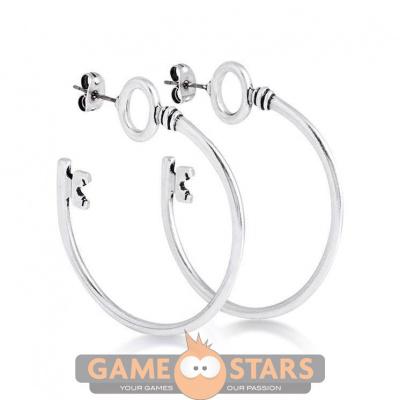 Disney Alice in Wonderland Hoop Key Earrings (White Gold)