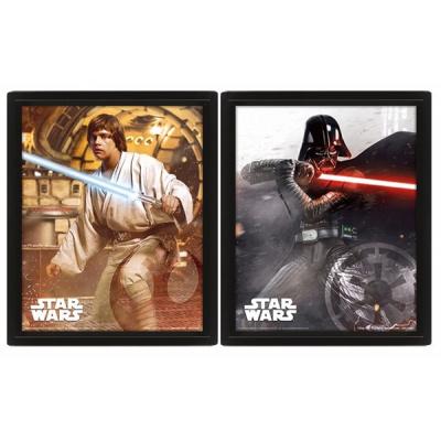 Star Wars Framed Poster Vader Vs Skywalker 3D Lenticular 20 x 25cm