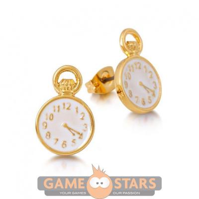 Disney Alice in Wonderland Clock Stud Earrings (Yellow Gold)