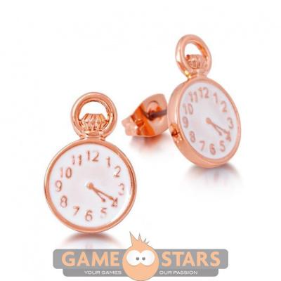 Disney Alice in Wonderland Clock Stud Earrings (Rose Gold)