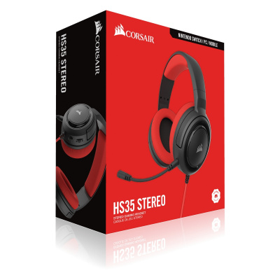 Corsair HS35 Stereo Gaming Headset 3.5mm Jack - Red (PS5/PS4/Xbox Series X/...)