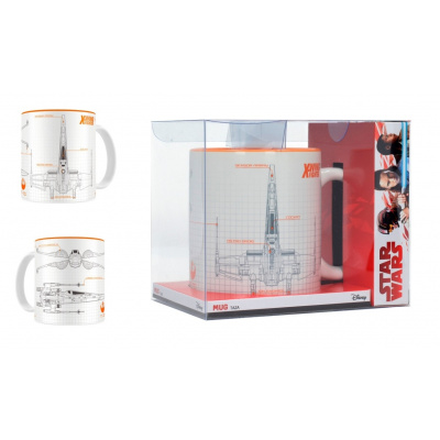 Star Wars The Last Jedi: X-Wing Blueprint White-Orange Mug