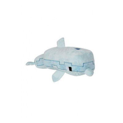 Minecraft Adventure Dolphin Plush Stuffed Toy, Light Blue