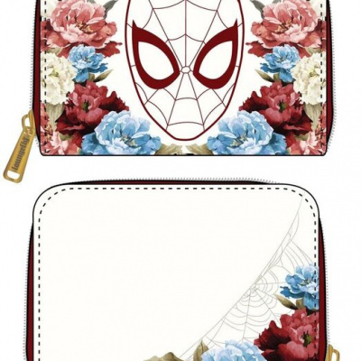 LoungeFly MARVEL SPIDERMAN FLORAL FAOUX LEATHER ZIP AROUND