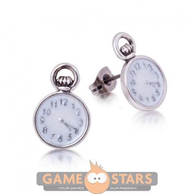 Disney Alice in Wonderland Clock Stud Earrings (White Gold)