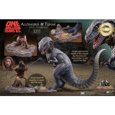 One Million Years B.C.: Allosaurus and Tumak PVC Statue Set
