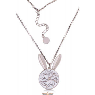 Disney Alice in Wonderland White Gold-Plated White Rabbit Necklace (White Gold)