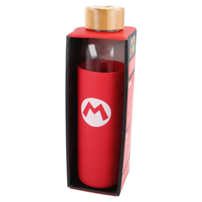 GLASS BOTTLE WITH SILICONE COVER 585 ML SUPER MARIO