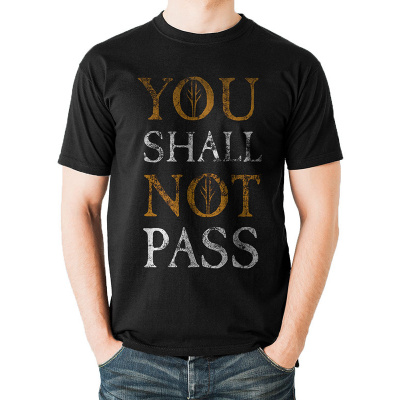 LORD OF THE RINGS - YOU SHALL NOT PASS TEXT T-Shirt BLACK