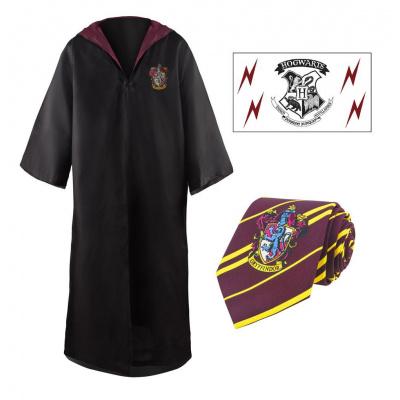 Harry Potter: Gryffindor Robe + Necktie + Tattoo Set - Size L