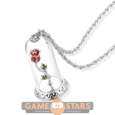 Disney Beauty and the Beast Enchanted Rose Necklace (White Gold)