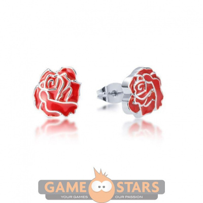 Disney Princess Beauty and the Beast Enchanted Rose Earring Set (White Gold)