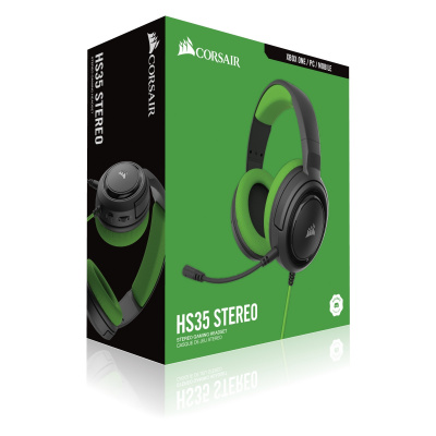 Corsair HS35 Stereo Gaming Headset 3.5mm Jack - Green (PS5/PS4/Xbox Series ...)