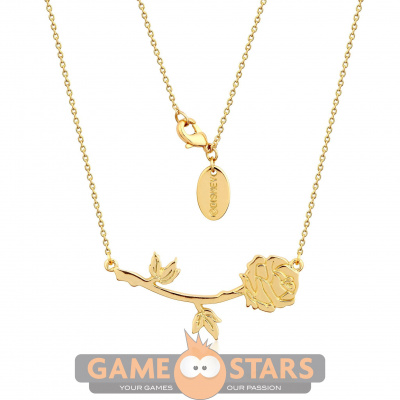 Disney Beauty and the Beast Rose Necklace (Yellow Gold)
